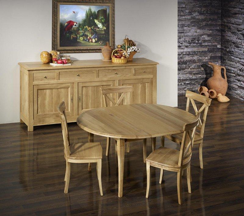 table ronde volets lucas en ch ne massif de style louis. Black Bedroom Furniture Sets. Home Design Ideas