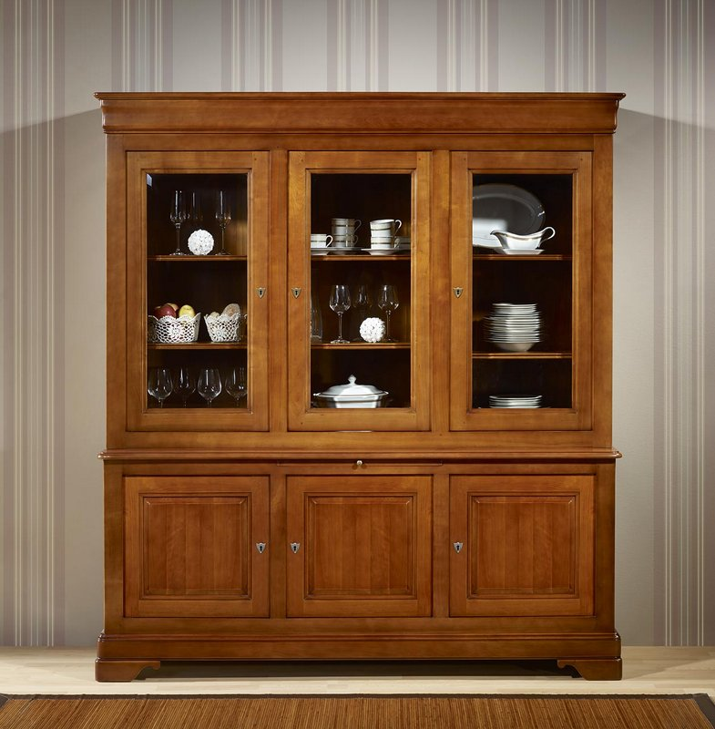 biblioth que 2 corps 3 portes en merisier massif de style louis philippe 1 disponible dore. Black Bedroom Furniture Sets. Home Design Ideas