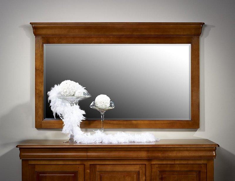 Miroir pour buffet 3 portes en merisier massif de style for Miroir louis philippe prix