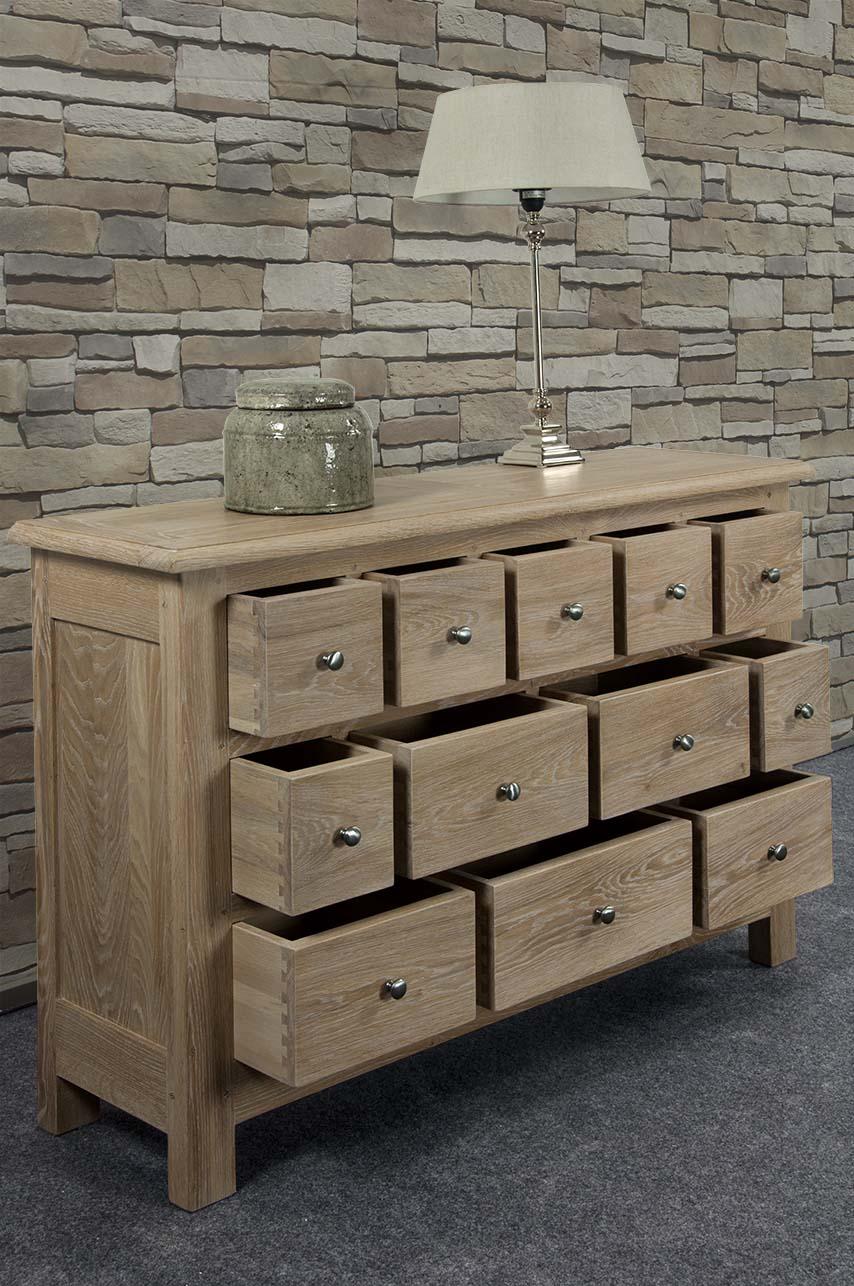 Commode 12 tiroirs c dric en ch ne massif de stytle campagnard meuble en ch - Commode chene massif ...