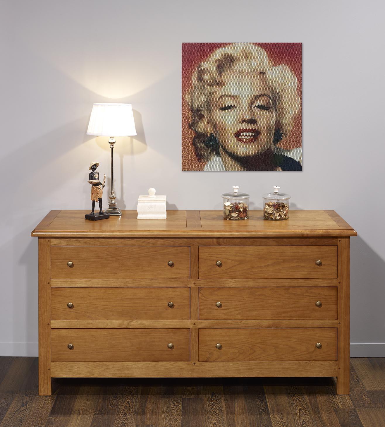 Commode 6 tiroirs lo c alis e en ch ne massif de style campagnard meuble e - Meuble style campagnard ...