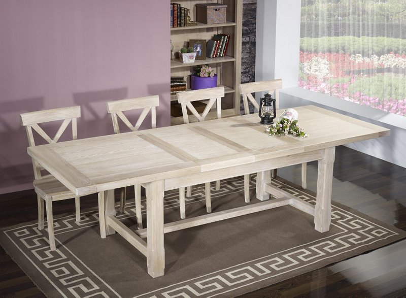 table de ferme rectangulaire axel en ch ne massif 180x100 2 allonges de 45 cm finition ch ne. Black Bedroom Furniture Sets. Home Design Ideas