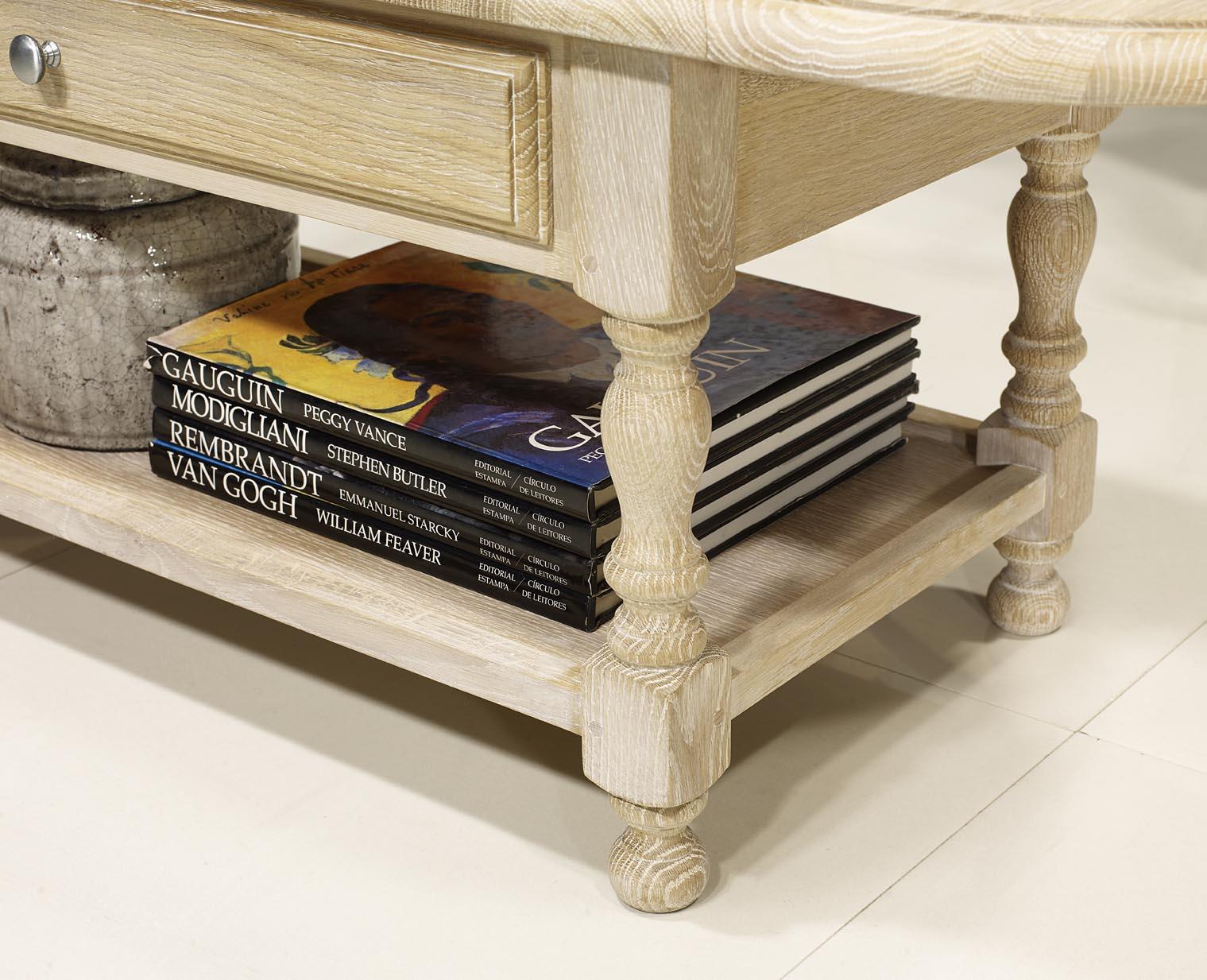 Table Basse Volets Jean En Ch Ne Massif De Style Louis Philippe Finition Ch Ne Bross Blanchi