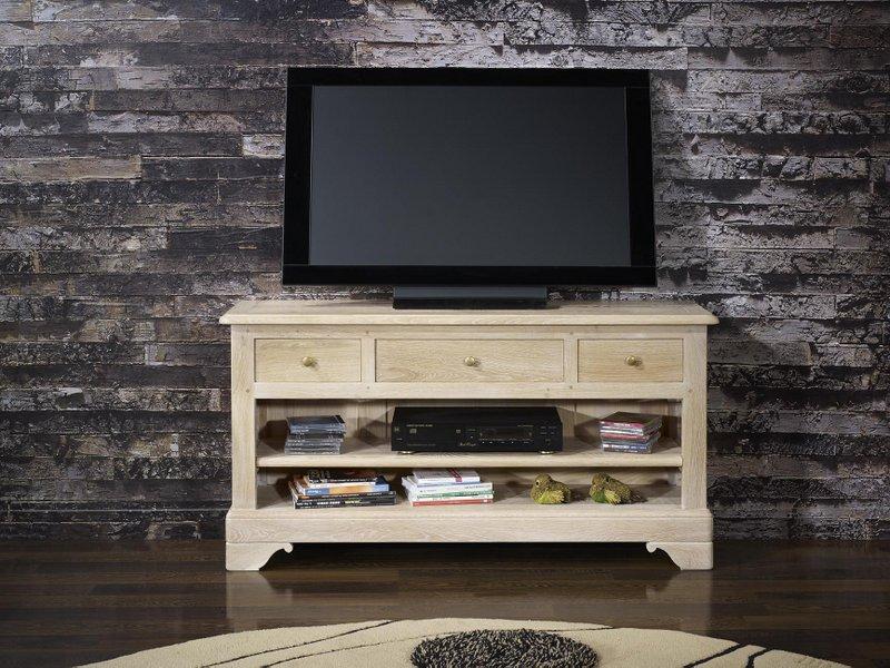 Meuble tv 16 9eme en ch ne massif de style louis philippe for Meuble tele 100 cm