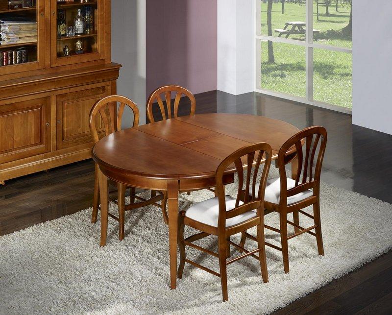 Table ronde 4 pieds juliette en merisier massif de style - Diametre table ronde 4 personnes ...