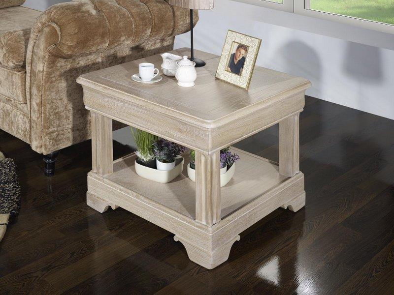 petite table basse ines en ch ne de style louis philippe finition ch ne bross blanchi meuble. Black Bedroom Furniture Sets. Home Design Ideas