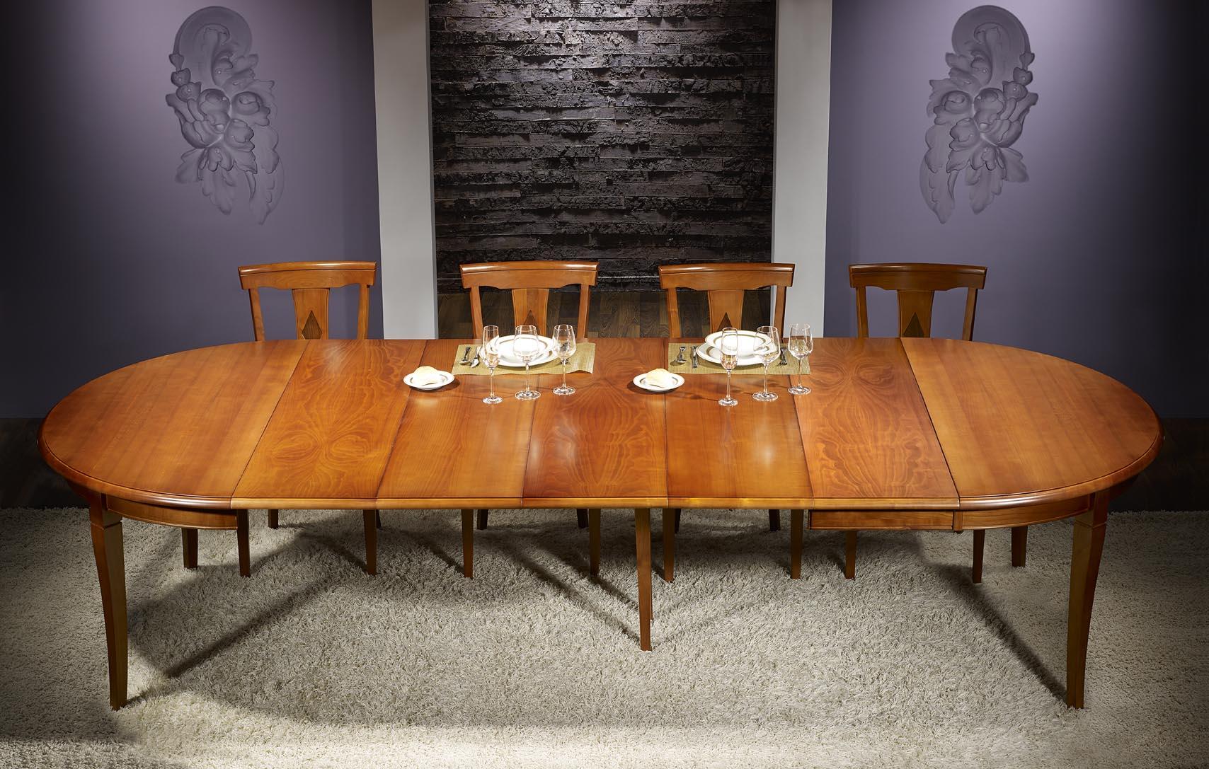 table ronde johanna en merisier massif de style louis philippe diam tre 140 cm 5 allonges de 40. Black Bedroom Furniture Sets. Home Design Ideas