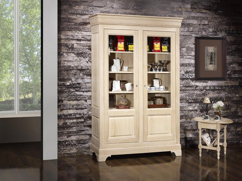 biblioth que 2 portes en ch ne massif de style louis philippe finition ch ne bross blanchi. Black Bedroom Furniture Sets. Home Design Ideas