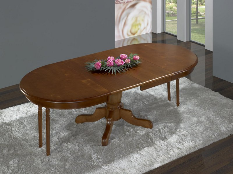 Table ovale 135x110 pied central delphine en merisier for Table ovale allonge
