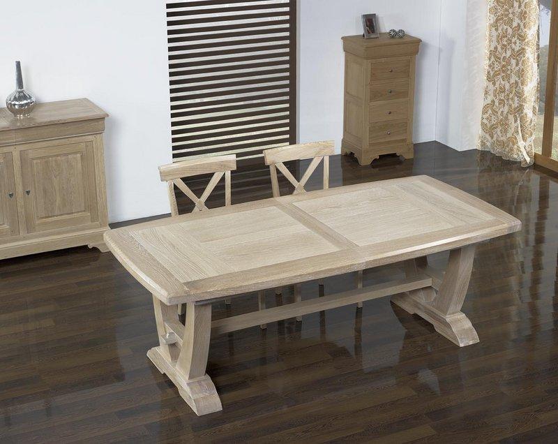 Table rectangulaire monast re realis e en ch ne 220 110 for Table en chene rectangulaire