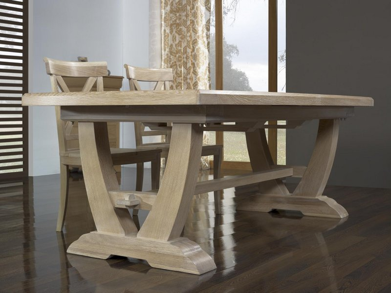 Table rectangulaire monast re realis e en ch ne 220 110 2 allonges de 45 cm - Table en chene massif prix ...
