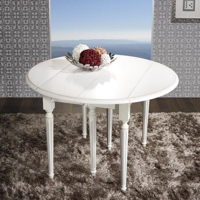 Table ronde volets justine en merisier massif de style for Table ronde 6 pieds