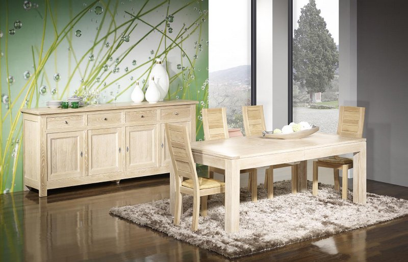 buffet 4 portes amaury en ch ne massif de style campagnard finition ch ne bross blanchi. Black Bedroom Furniture Sets. Home Design Ideas