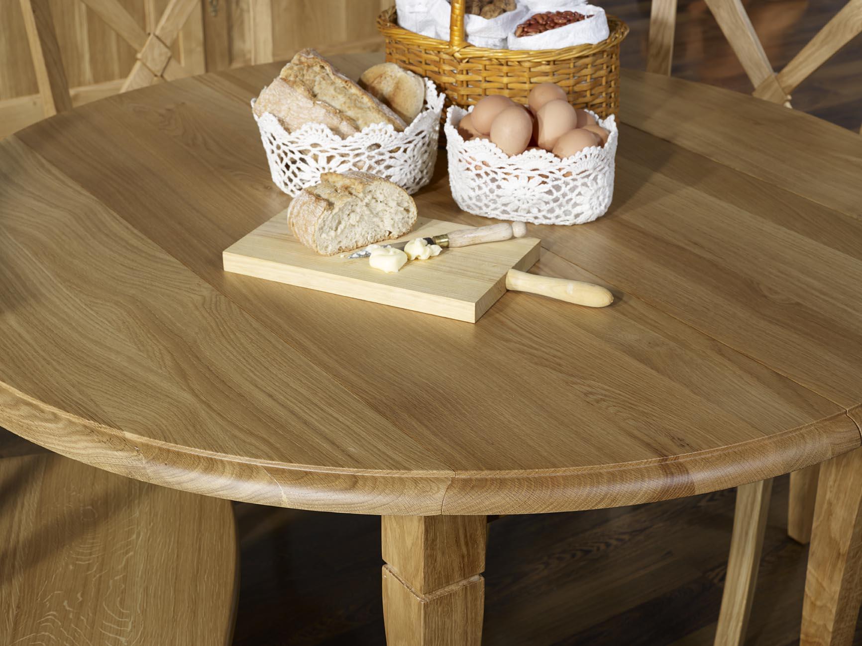 Table ronde volets marius diam tre 110 en ch ne massif de style louis phili - Diametre table ronde ...