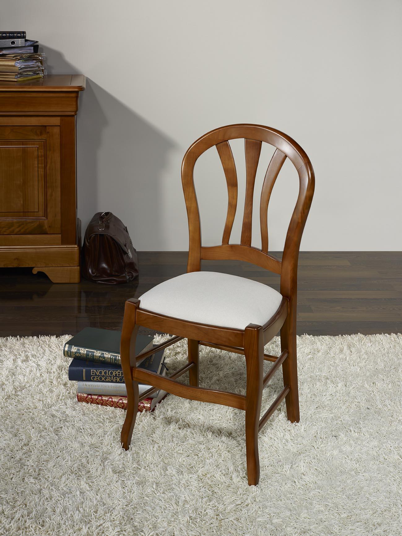 chaise camille en h tre massif assise tissu de style louis philippe meuble en merisier massif. Black Bedroom Furniture Sets. Home Design Ideas