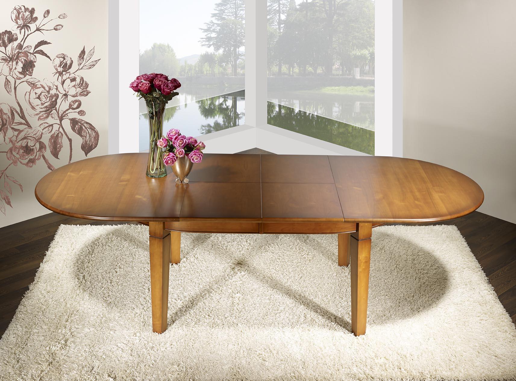 table ovale 180x110 en merisier de style campagne 4 pieds. Black Bedroom Furniture Sets. Home Design Ideas