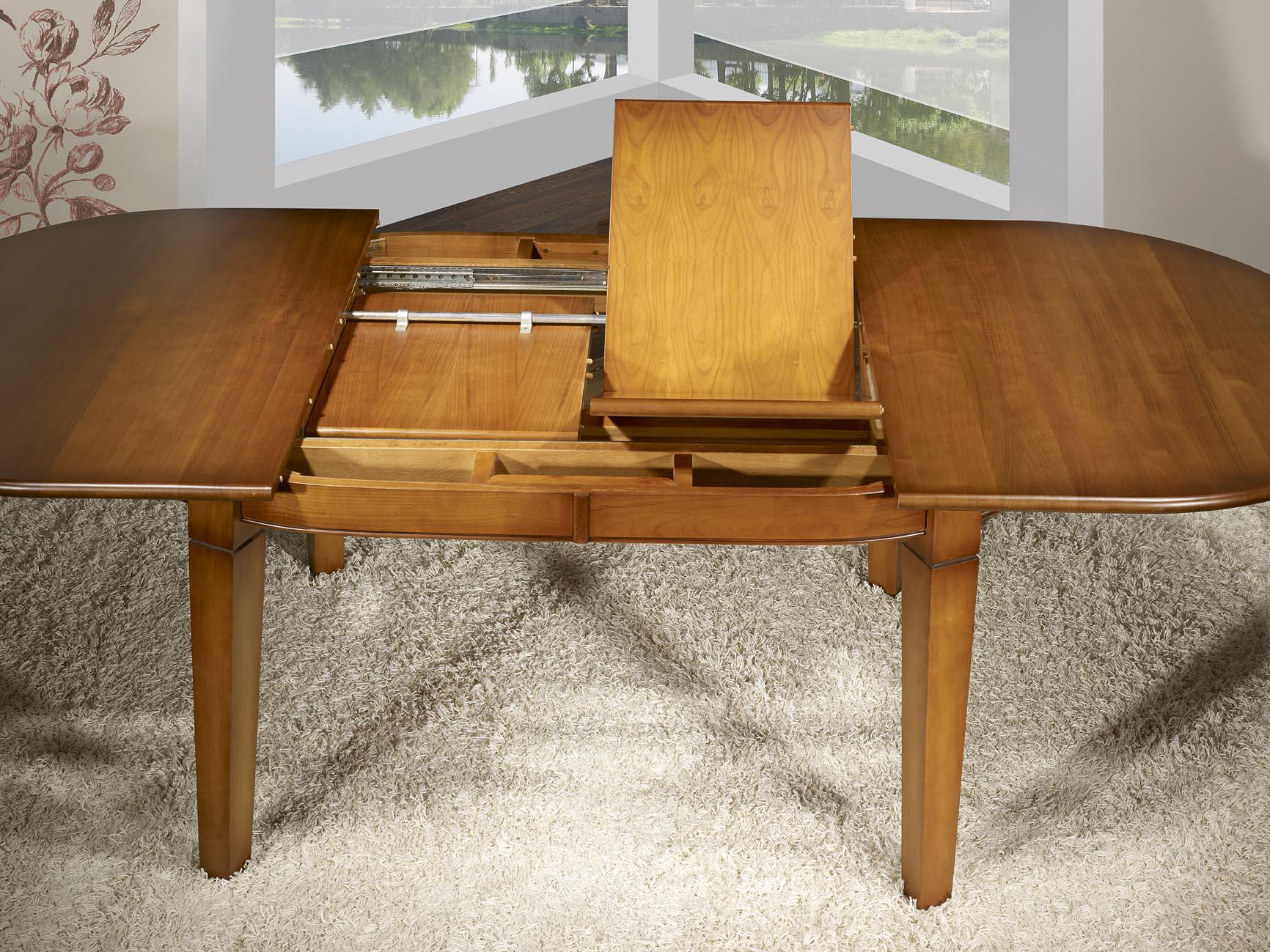 table ovale 180x110 en merisier de style campagne 4 pieds fuseaux 2 allonges portefeuilles. Black Bedroom Furniture Sets. Home Design Ideas