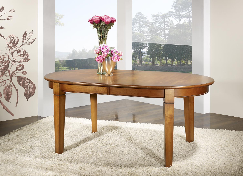 table ovale 180x110 en merisier de style campagne 4 pieds fuseaux 2 allonges portefeuilles meuble en merisier massif