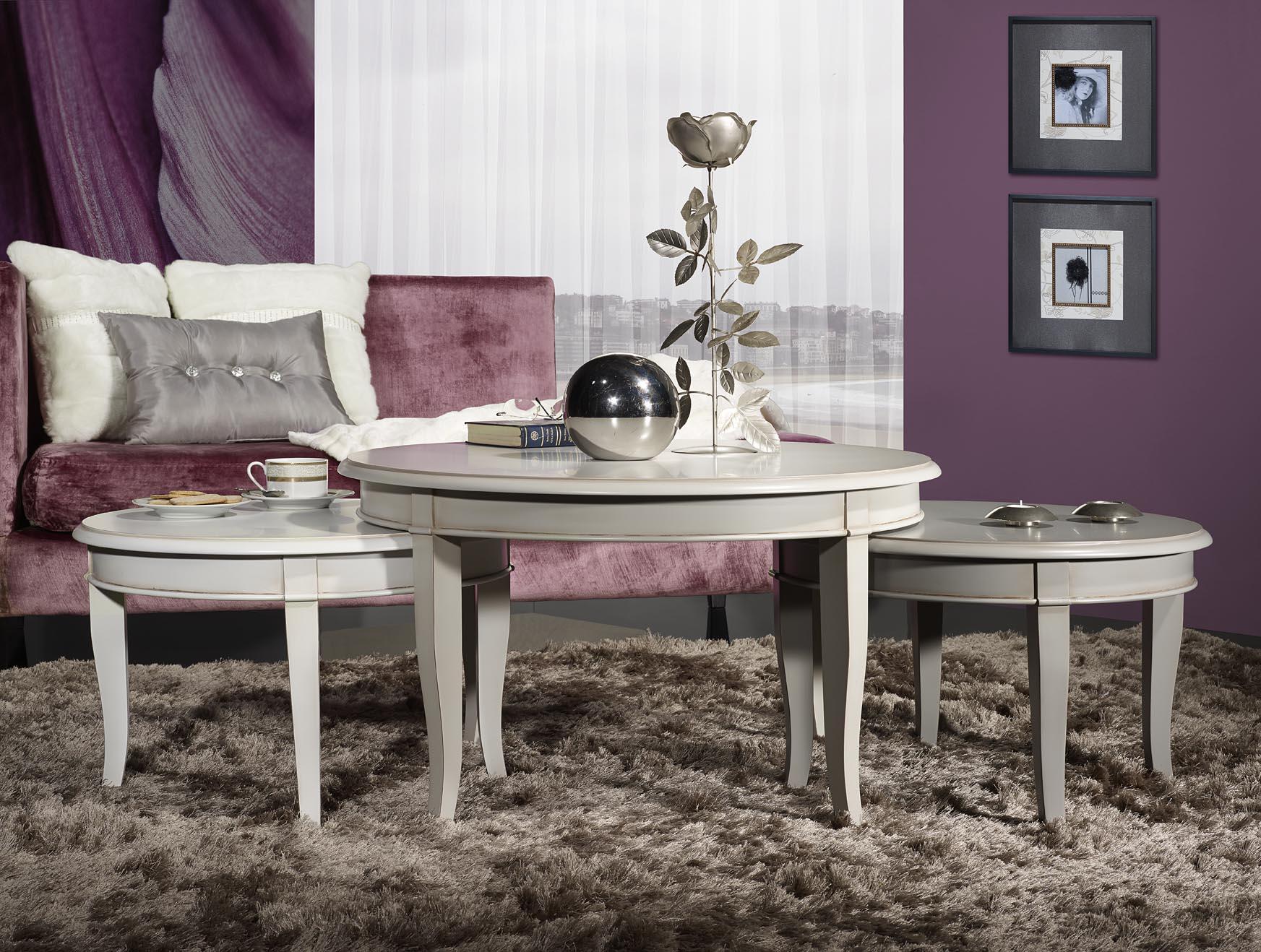set de 3 tables basses rondes en merisier de style. Black Bedroom Furniture Sets. Home Design Ideas