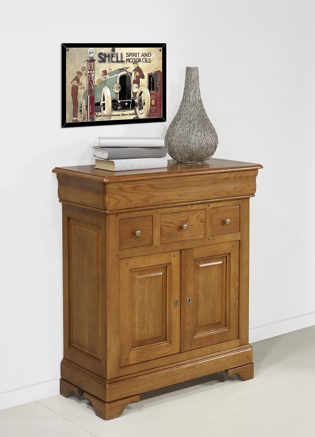 petit buffet ethan 2 portes 4 tiroirs en ch ne massif de style louis philippe finition ch ne. Black Bedroom Furniture Sets. Home Design Ideas