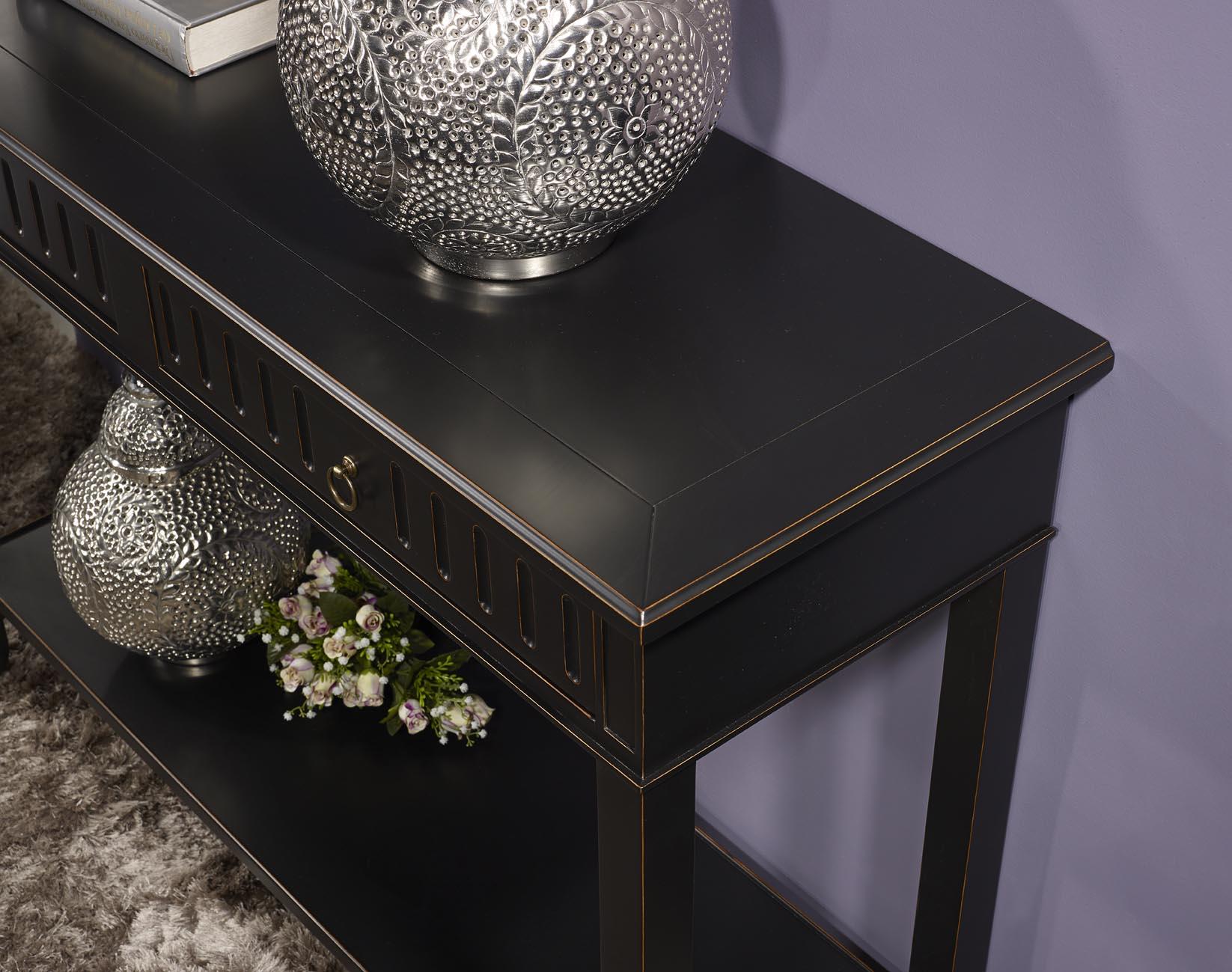 Console c line en merisier de style directoire laqu e noir - Repeindre un meuble en bois en noir ...
