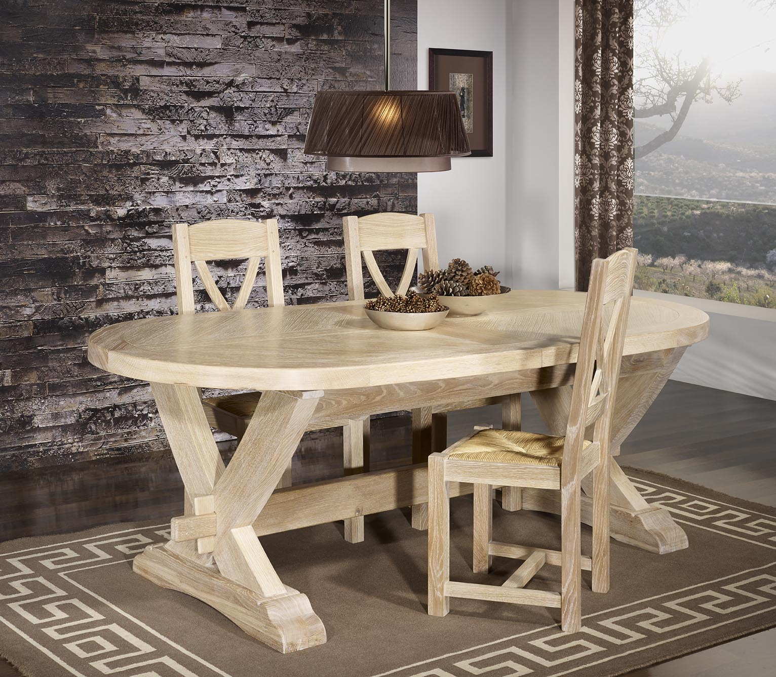 Table monast re olivier 220x120 en ch ne massif 2 allonges for Table de chevet malm chene blanchi