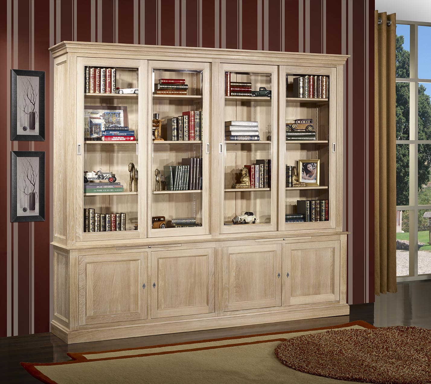 biblioth que 2 corps 4 portes coulissantes damien en ch ne massif de style directoire finition. Black Bedroom Furniture Sets. Home Design Ideas