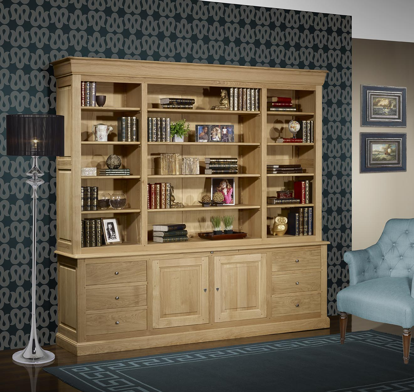 biblioth que 2 corps pierre en ch ne massif de style louis philippe longueur 240 cm finition. Black Bedroom Furniture Sets. Home Design Ideas