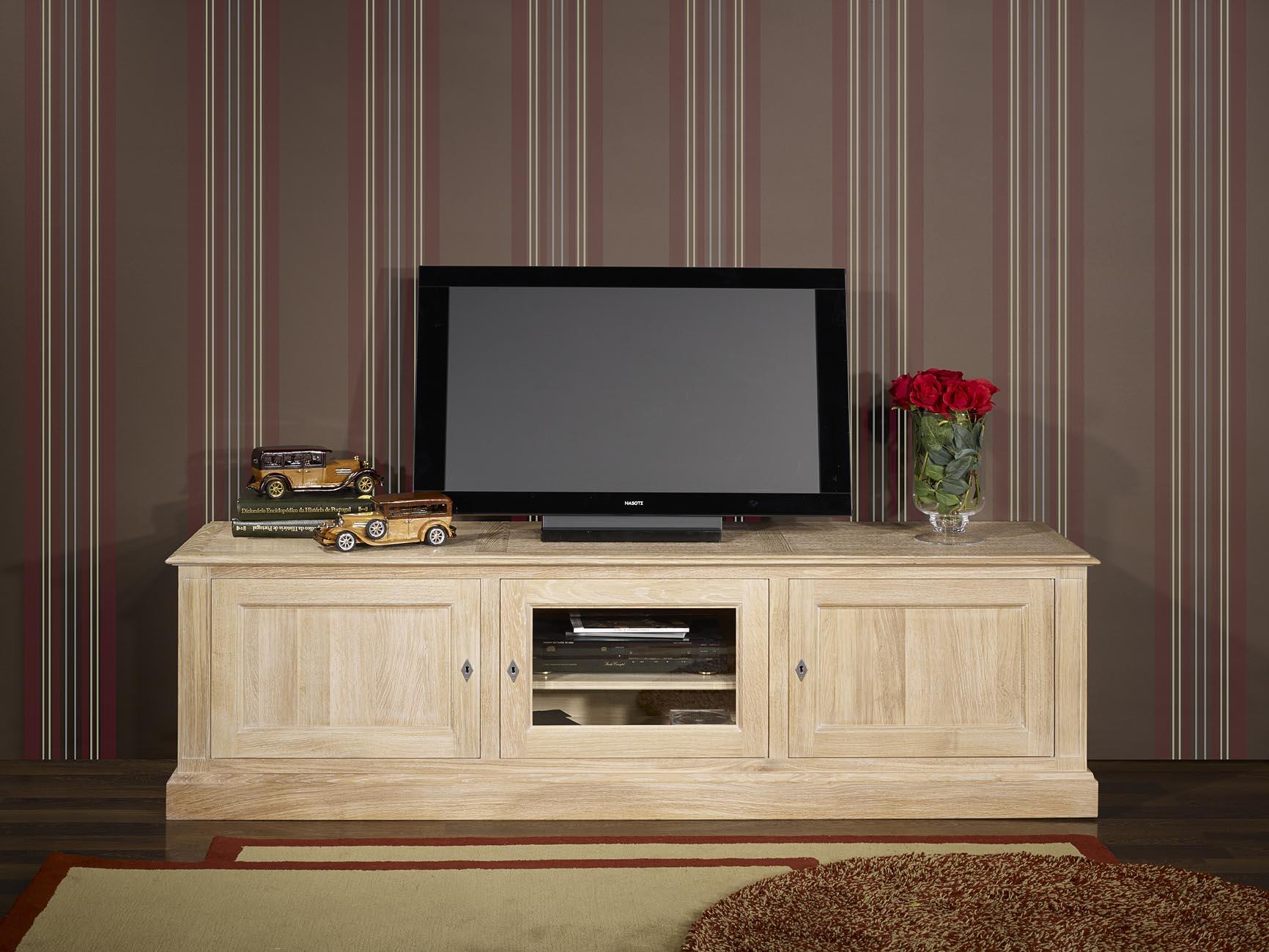 Meuble Tv Damien En Ch Ne De Style Directoire Longueur 2 00 M Tres  # Meuble Tv Chene Blanc