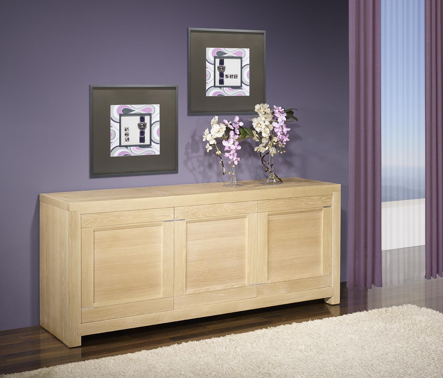 bahut 3 portes loann en ch ne massif de ligne. Black Bedroom Furniture Sets. Home Design Ideas