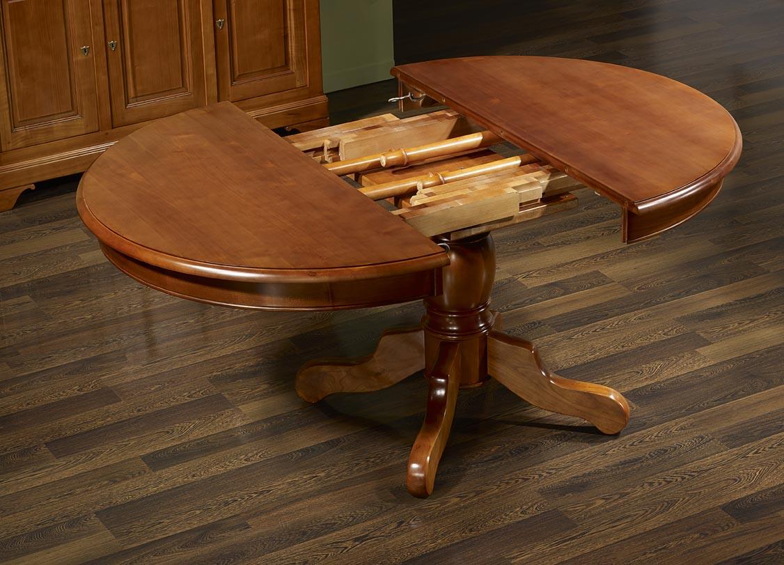 Table ronde pied central aline en merisier massif de style for Table ronde pied central bois massif
