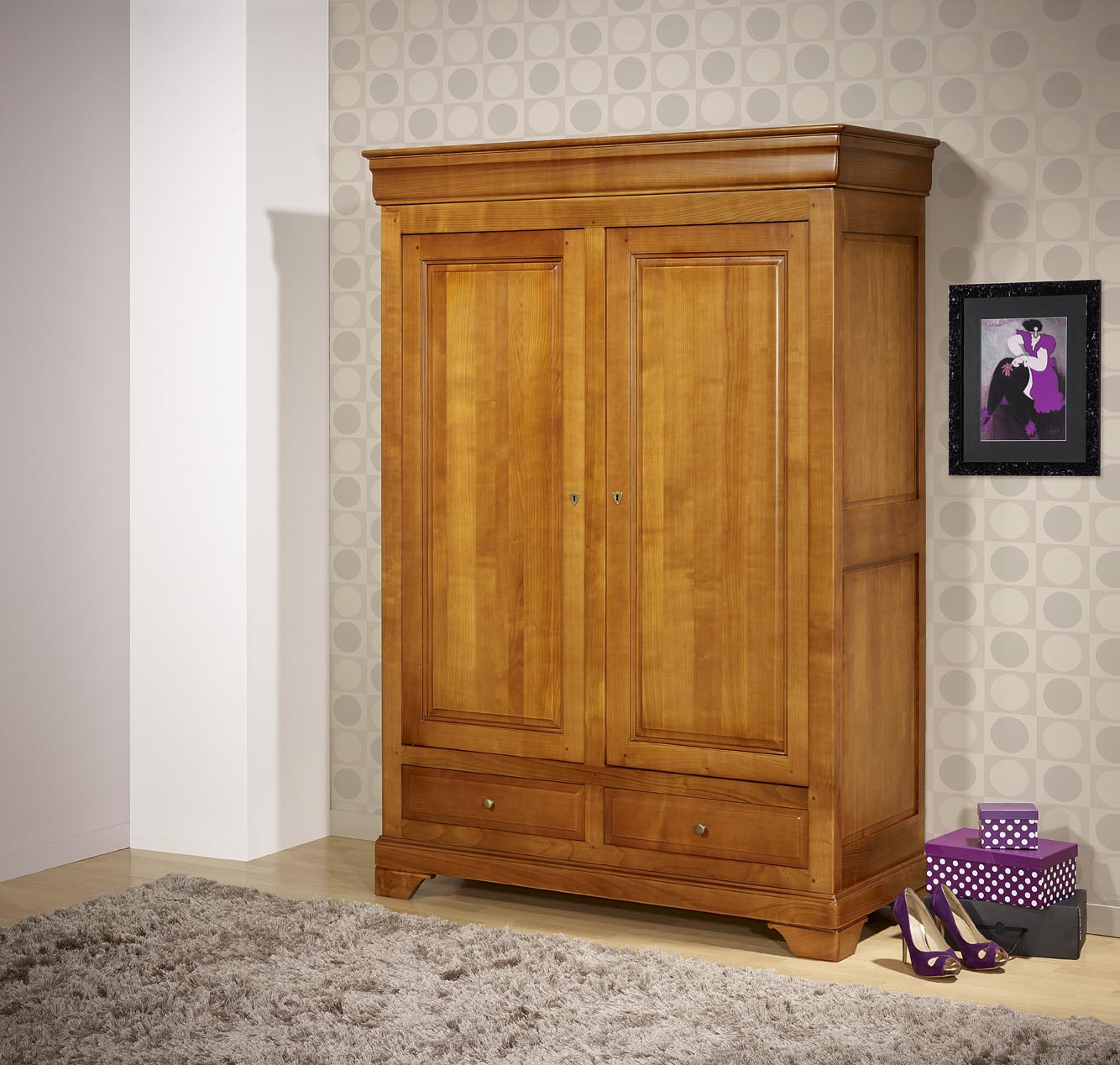 petite armoire 2 portes 2 tiroirs in s en merisier massif de style louis philippe meuble en. Black Bedroom Furniture Sets. Home Design Ideas