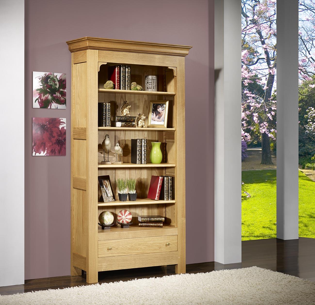 biblioth que r my en ch ne massif de style louis philippe campagnard finition ch ne bross. Black Bedroom Furniture Sets. Home Design Ideas