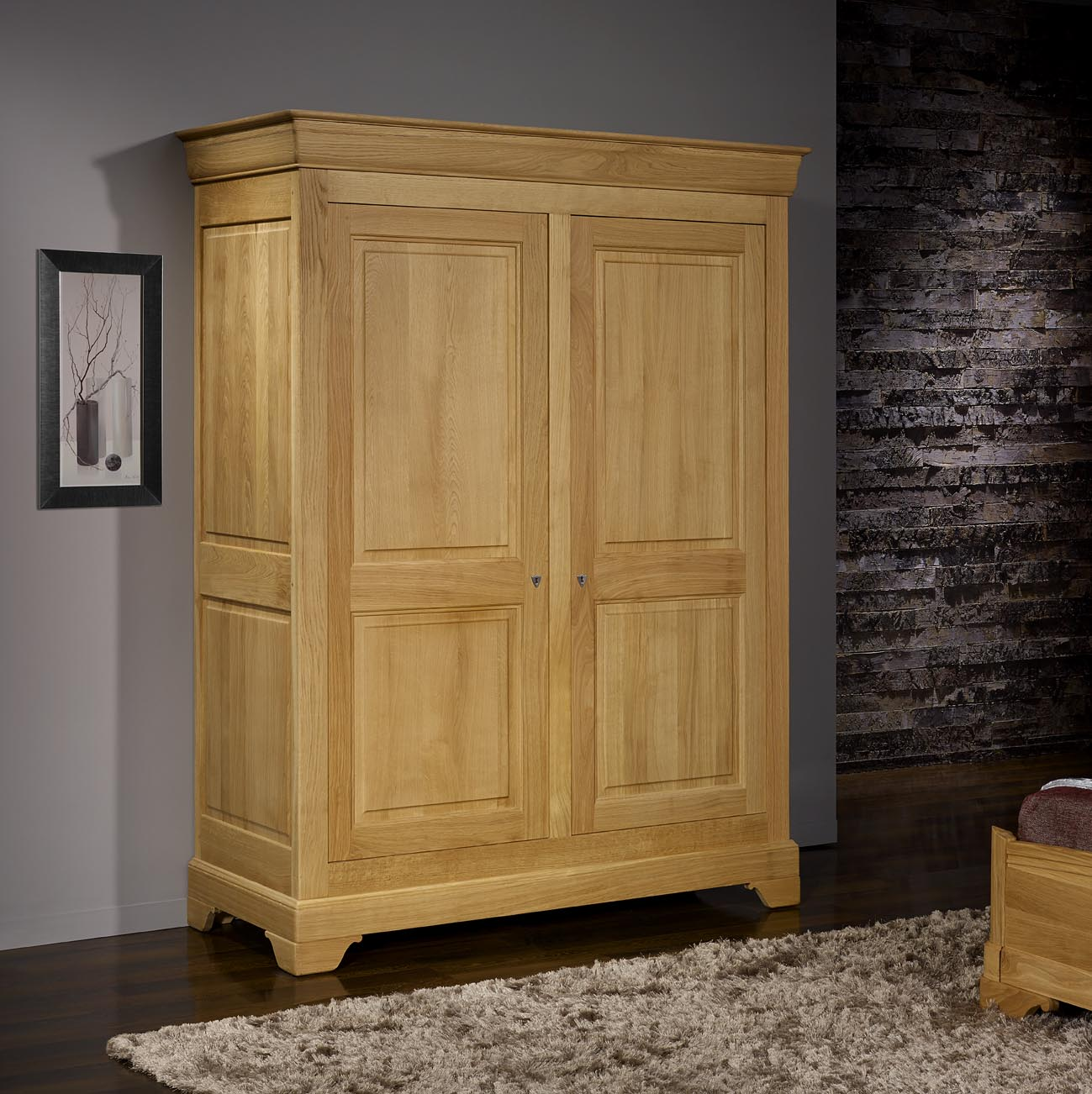 armoire 2 portes en ch ne massif de style louis philippe finition ch ne bross naturel meuble. Black Bedroom Furniture Sets. Home Design Ideas