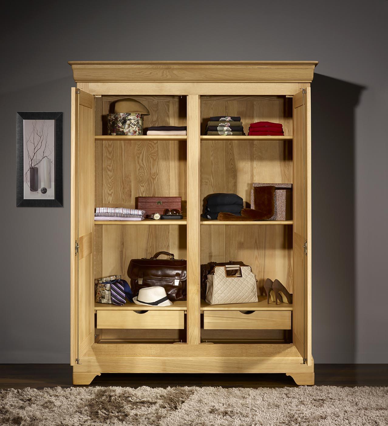 Armoire 2 Portes En Ch Ne Massif De Style Louis Philippe Finition  # Catalogue Armoire Fait En Bois
