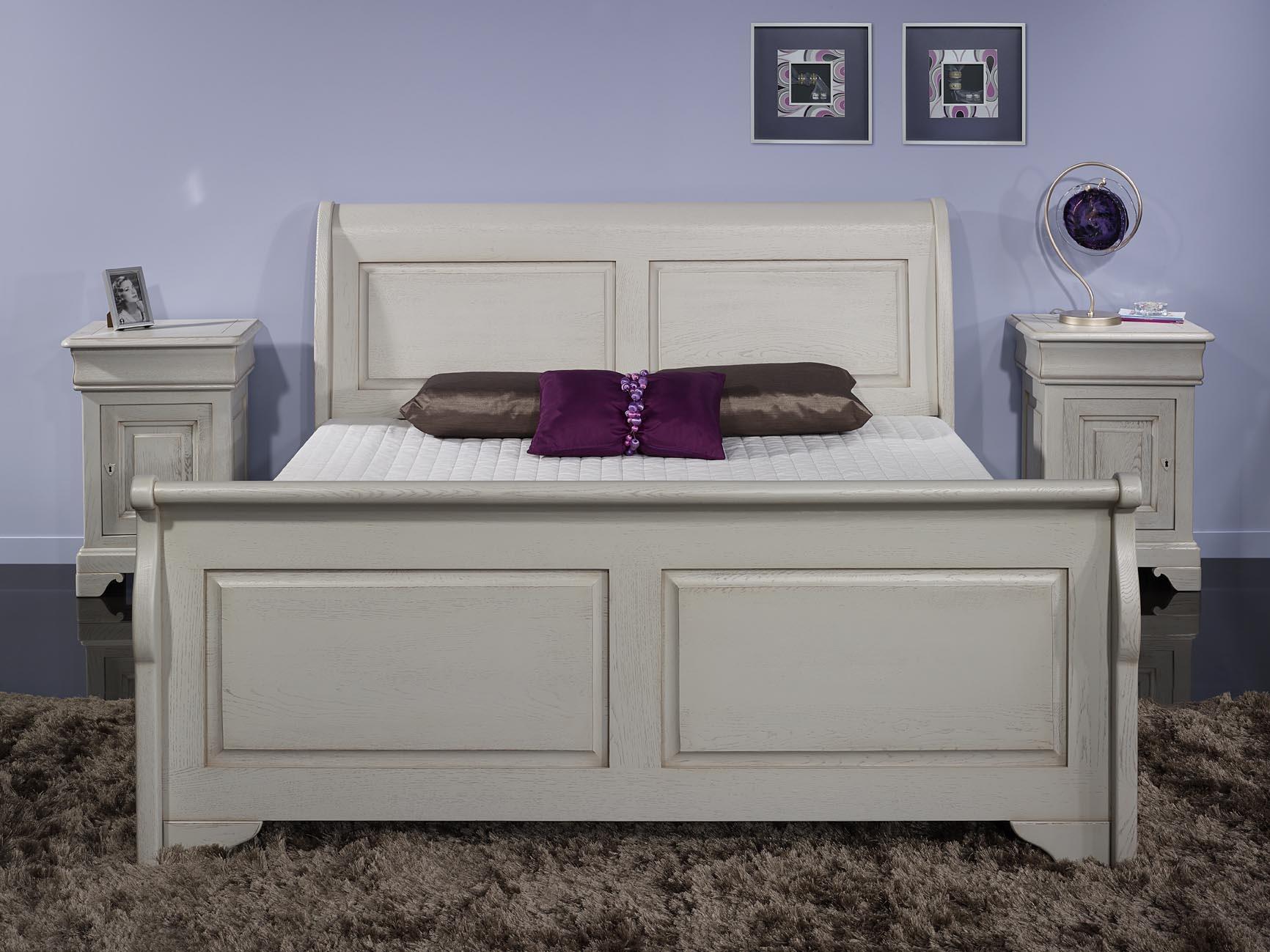lit bateau 160x200 etienne en ch ne massif de style louis philippe campagnard finition ch ne. Black Bedroom Furniture Sets. Home Design Ideas