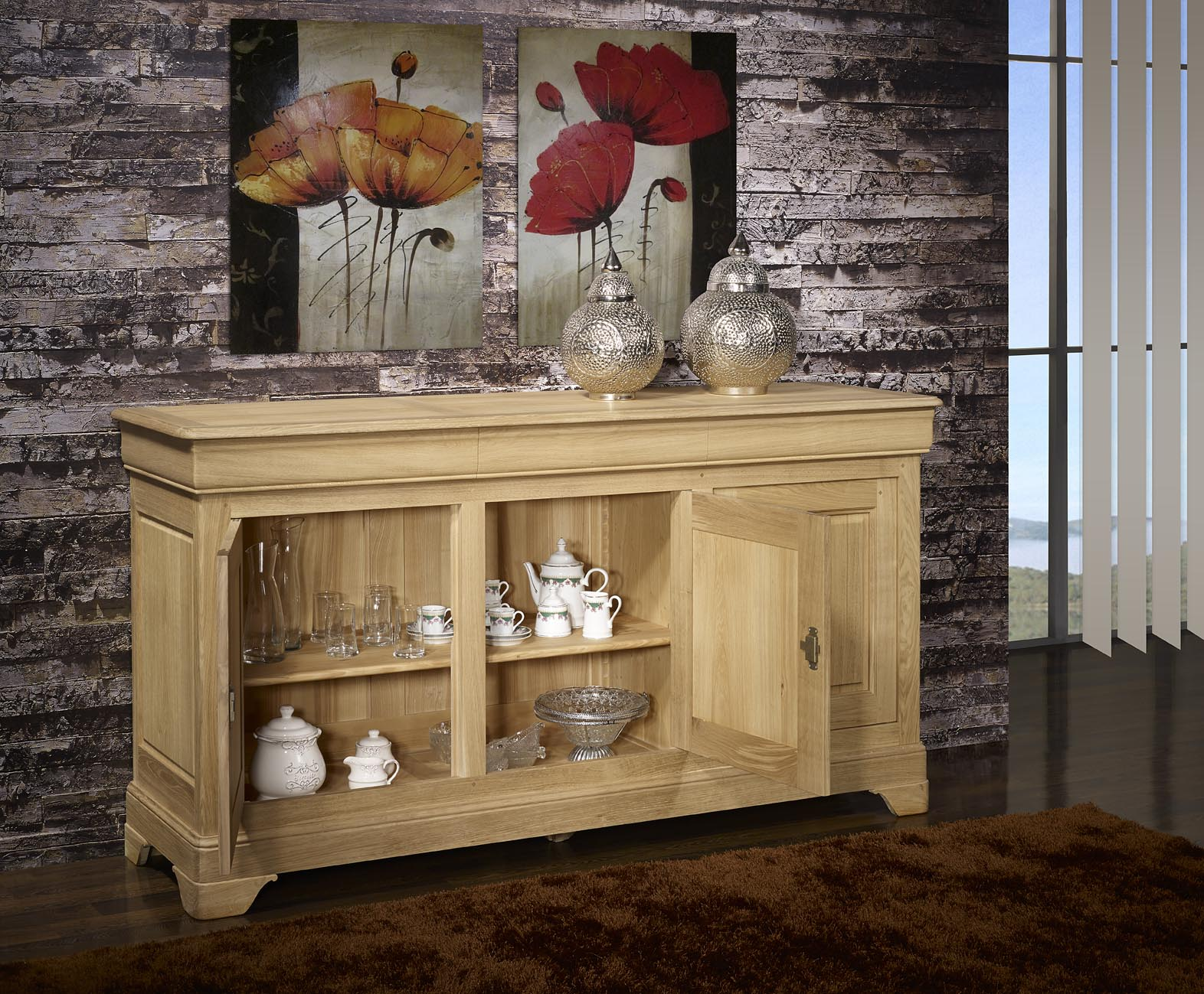 Buffet 3 portes ludovic en ch ne massif de style louis for Finition de meuble en bois