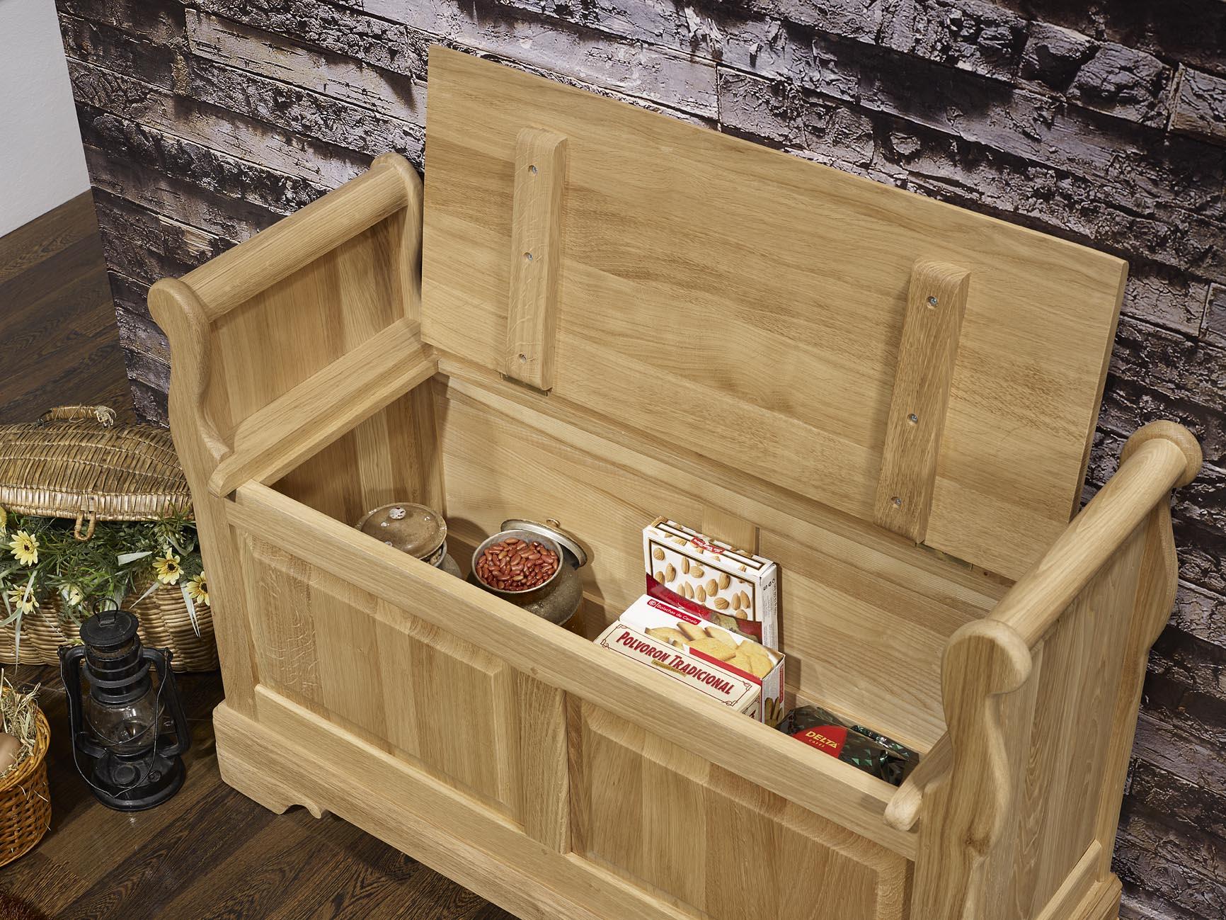banc coffre l o en ch ne massif de style louis philippe finition ch ne bross naturel meuble. Black Bedroom Furniture Sets. Home Design Ideas