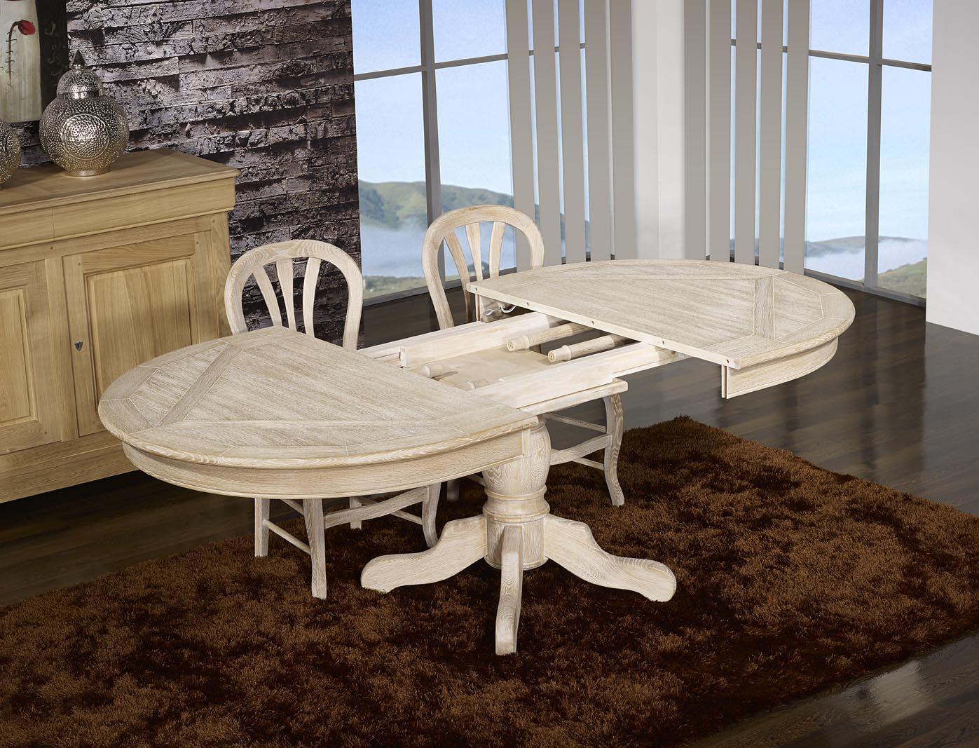 table ovale cl ment 160x120 pied central en ch ne de style. Black Bedroom Furniture Sets. Home Design Ideas