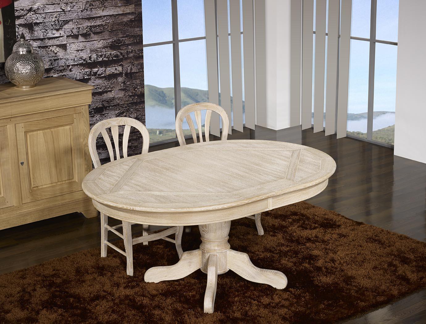 table ovale cl ment 160x120 pied central en ch ne de style louis philippe finition ch ne bross. Black Bedroom Furniture Sets. Home Design Ideas