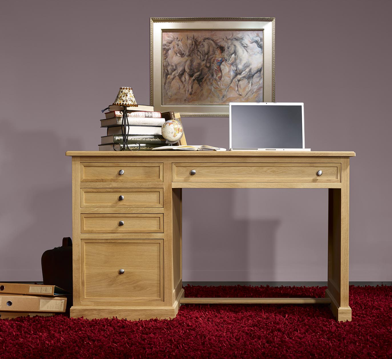 bureau 5 tiroirs victor en ch ne de style louis philippe finition ch ne bross naturel meuble. Black Bedroom Furniture Sets. Home Design Ideas