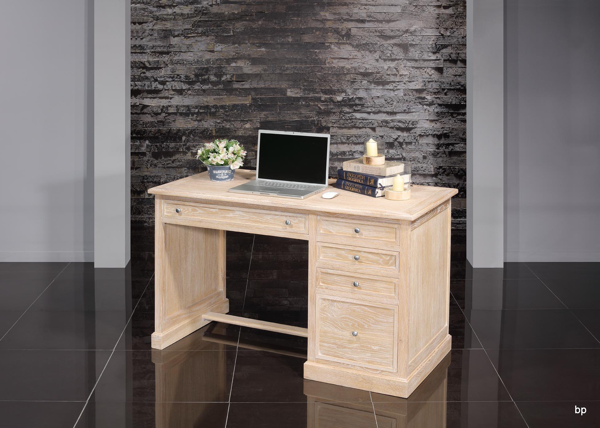 bureau 5 tiroirs victor en ch ne de style louis philippe finition ch ne bross blanchi meuble. Black Bedroom Furniture Sets. Home Design Ideas