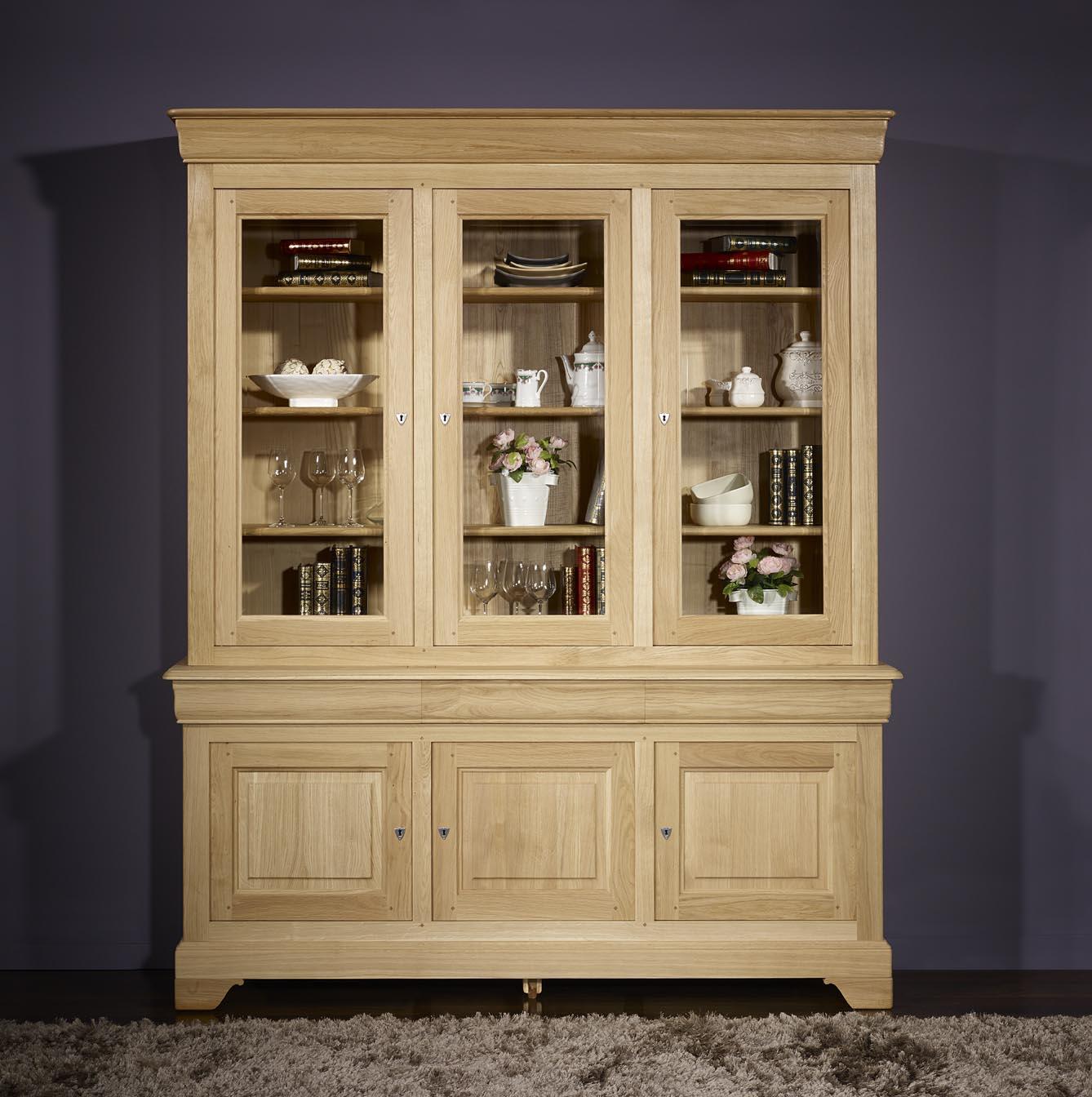 biblioth que 2 corps 3 portes en ch ne massif de style louis philippe finition ch ne bross. Black Bedroom Furniture Sets. Home Design Ideas