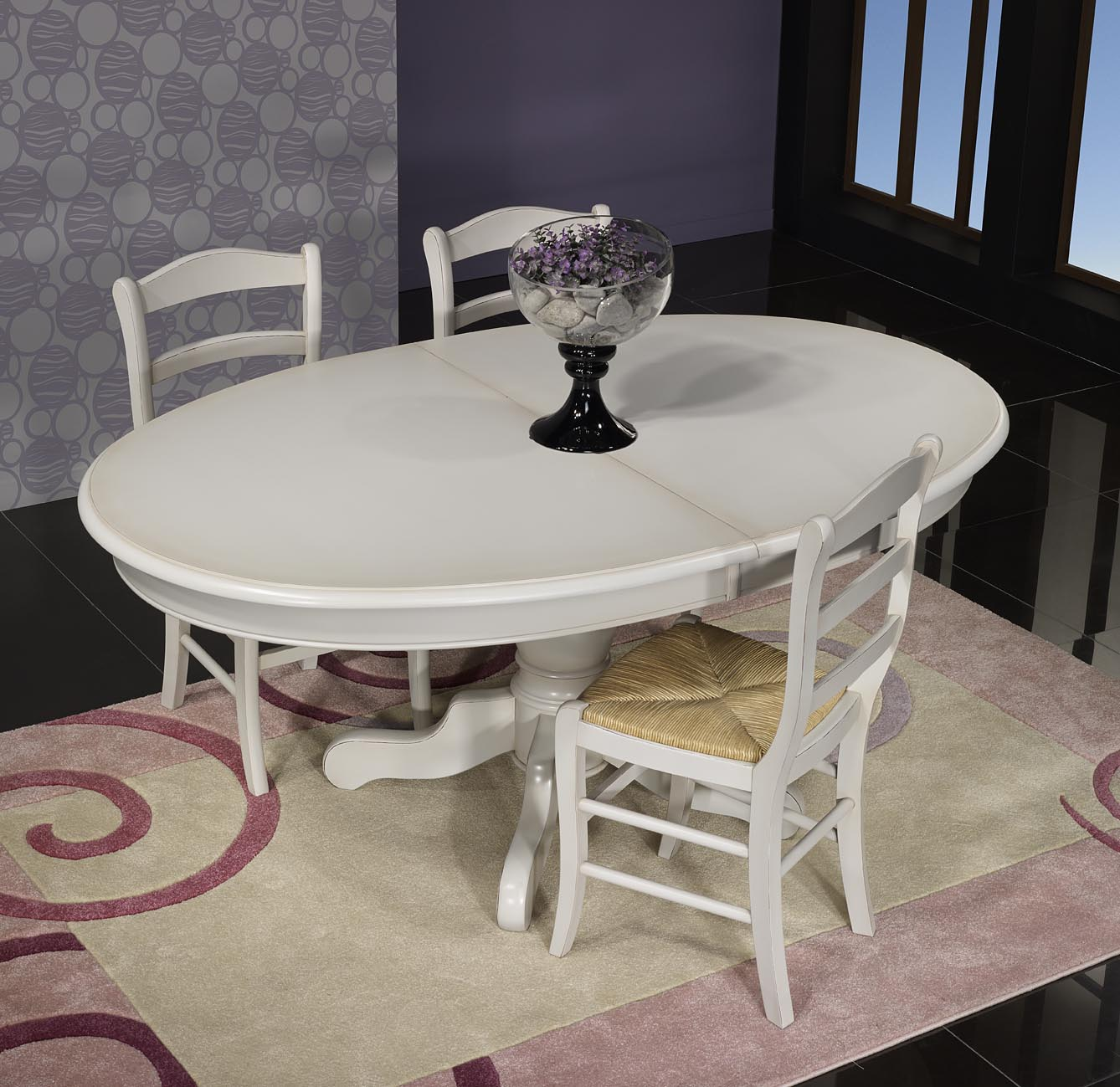 Table ovale pied central delphine en merisier massif de style louis philippe - Table ovale design pied central ...
