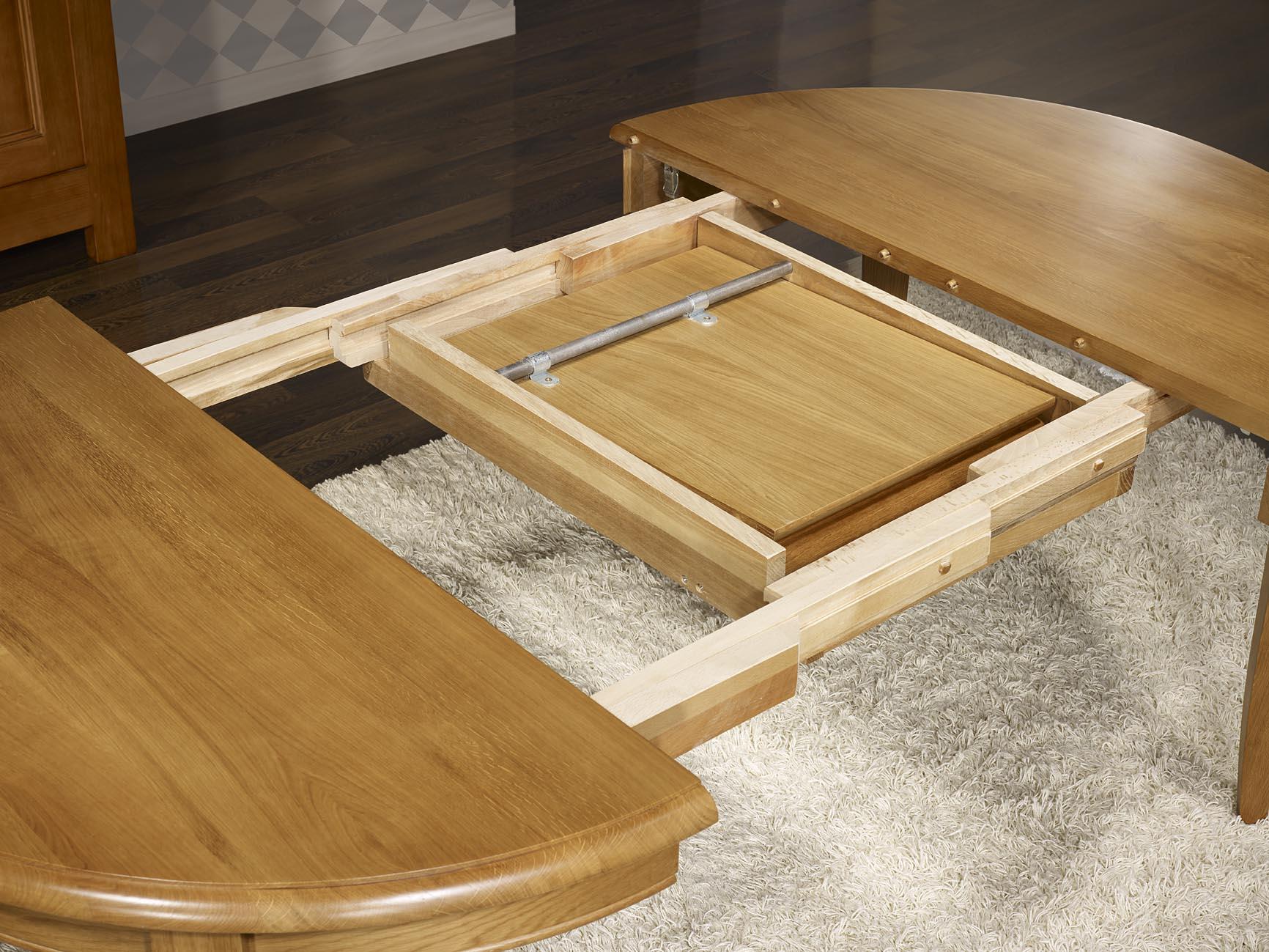 Table ronde 4 pieds marc en ch ne massif de style louis - Table ronde bois massif avec rallonge ...