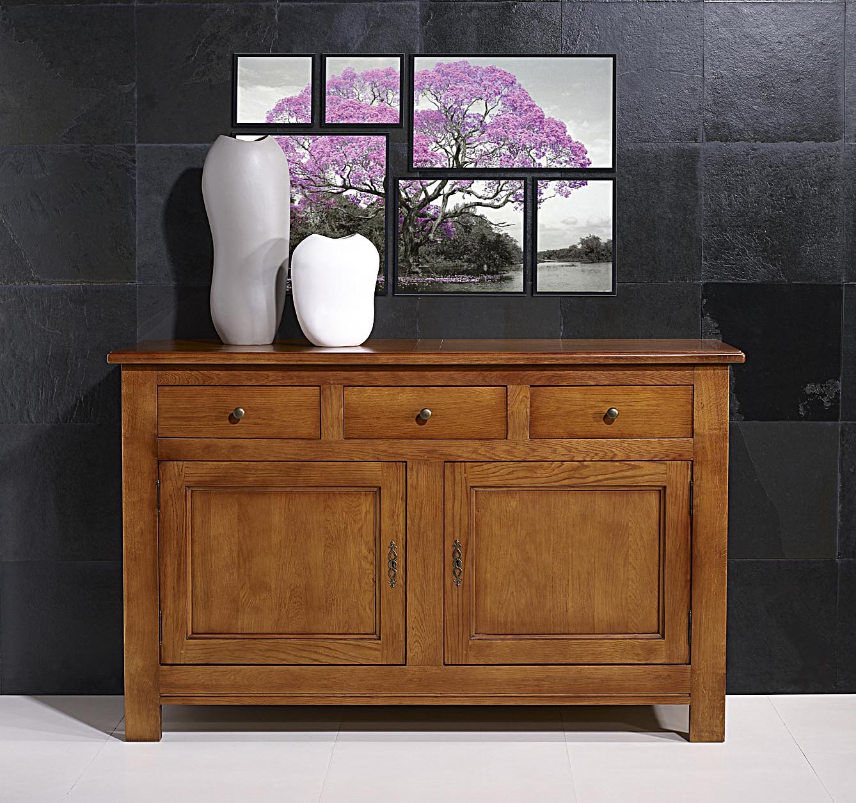 buffet 2 portes david en ch ne massif de style campagnard longueur 163 cm meuble en ch ne massif. Black Bedroom Furniture Sets. Home Design Ideas