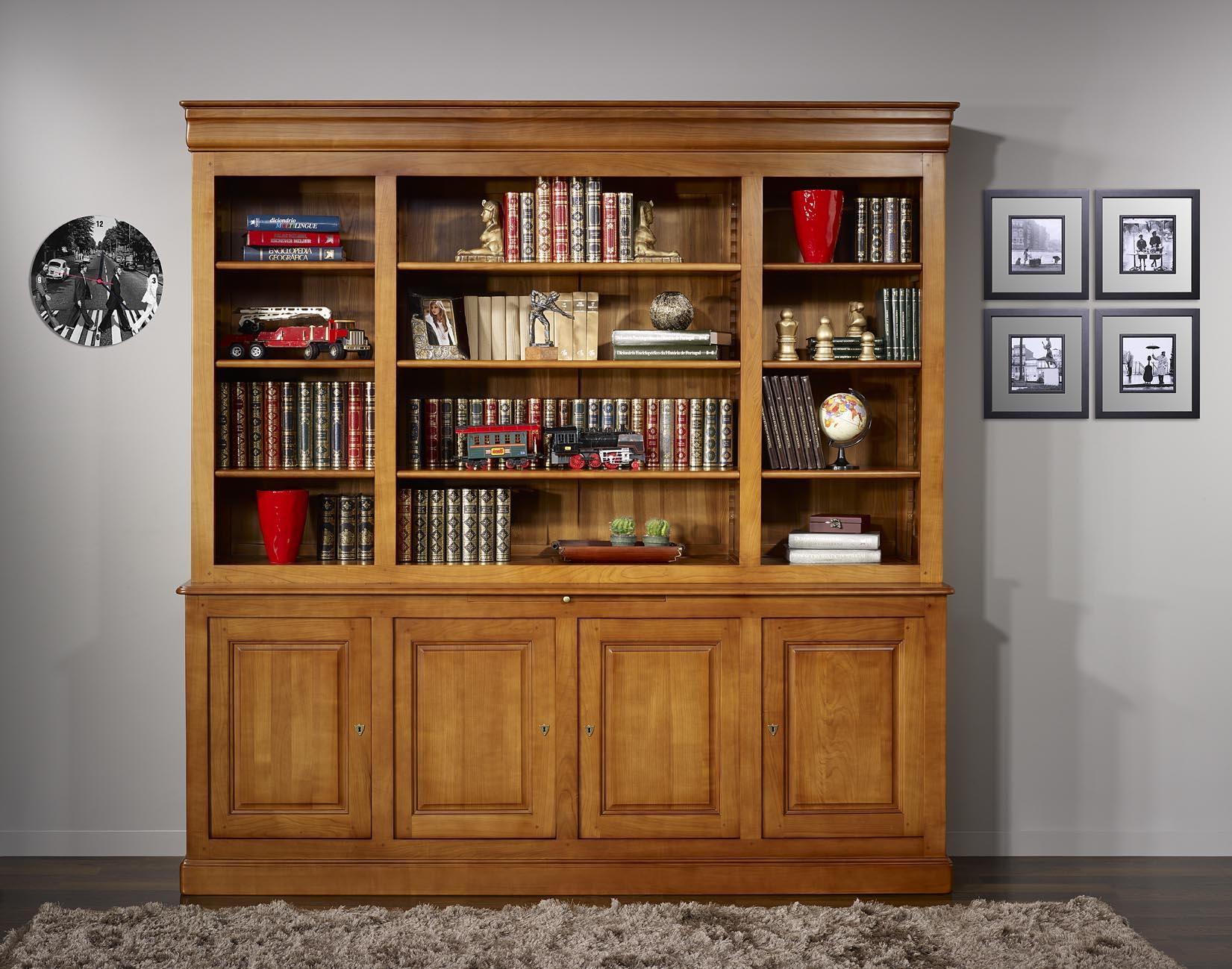 Biblioth que 2 corps en merisier massif de style louis for Meuble bibliotheque bois massif