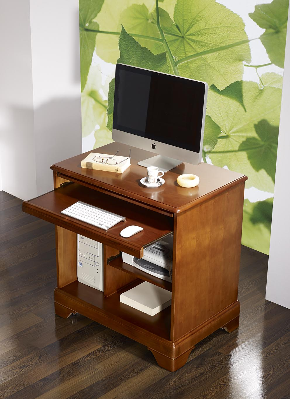 Petit bureau informatique en merisier de style louis for Petit bureau ordinateur