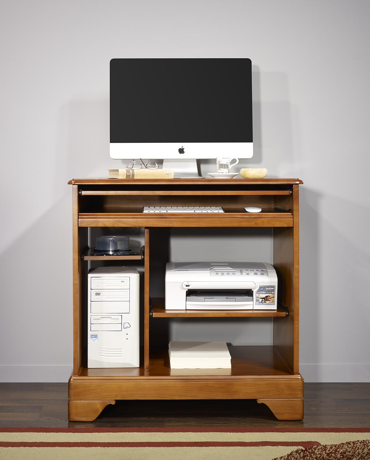 Petit bureau informatique en merisier de style louis for Petit meuble informatique ordinateur