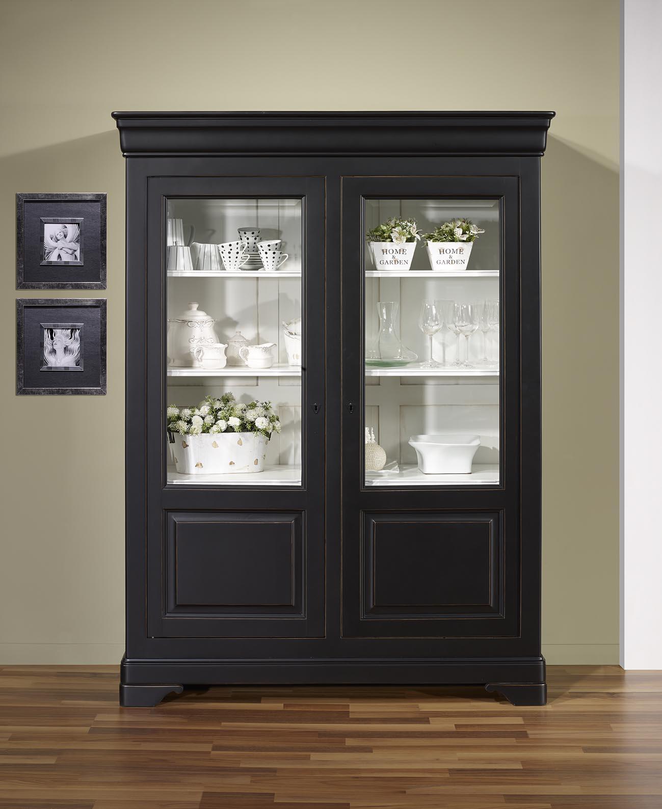 biblioth que 2 portes cristina en merisier massif de style louis philippe finition noir et. Black Bedroom Furniture Sets. Home Design Ideas
